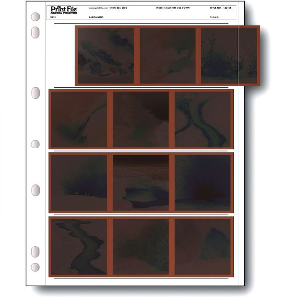 PrintFile® Negativ-Ordnerhüllen 120-4B für Streifen 3er 6x6 PE