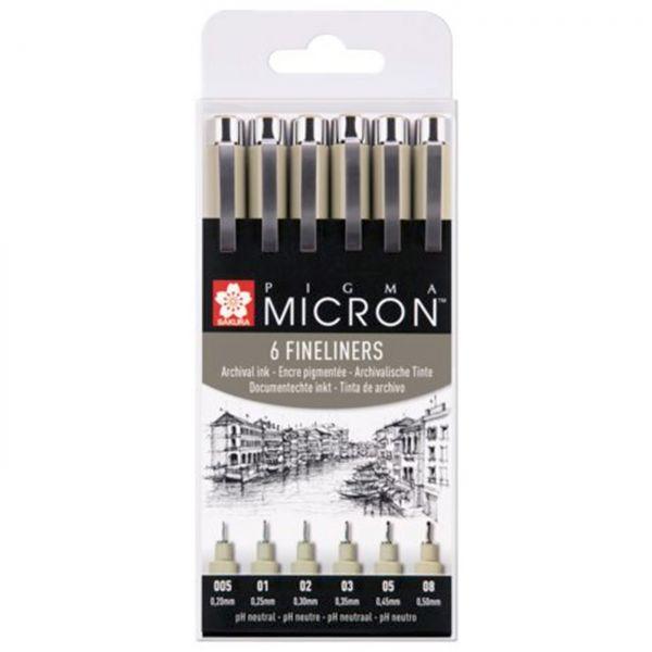 Stift-Set Pigma Micron schwarz / 6 Stifte in 6 Stärken