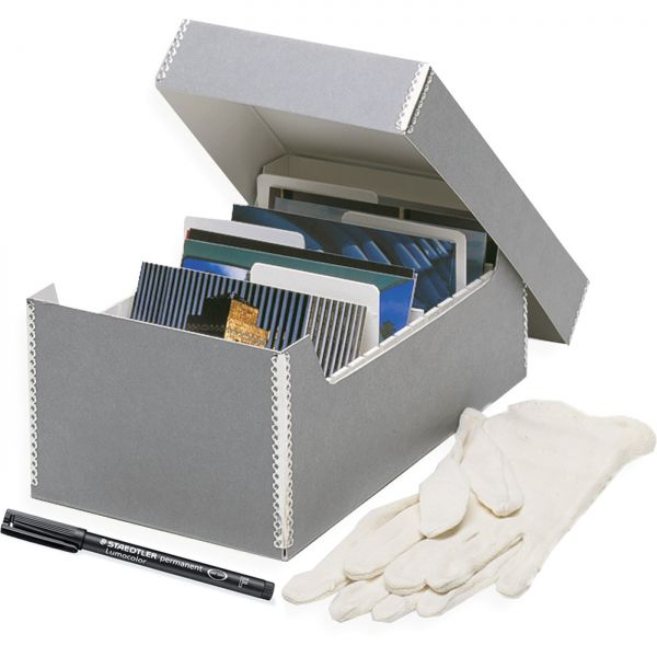 Positive-Archiv-Set grey : Box, Gloves, Pen