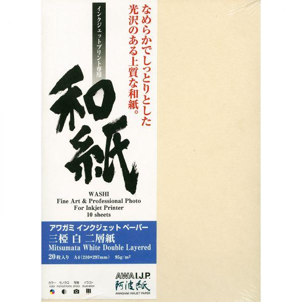 DL - Awagami AIP Mitsumata White Double Layered 95 Japanisches Seidelbast-Papier