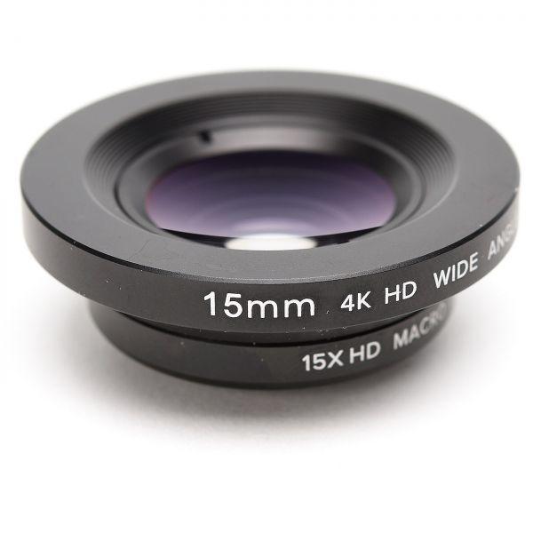 Smartphone-Objektiv 15 mm 4K HD Weitwinkel + 15x Makro